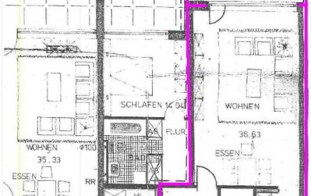 Grundriss, pink = Wohnung