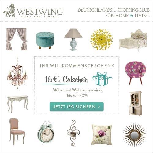 gutschein f r westwing in h he von 15 00. Black Bedroom Furniture Sets. Home Design Ideas