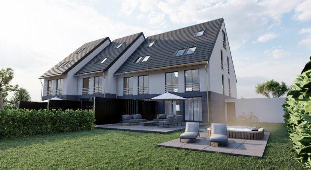 Vier Neubau-Reihenhäusern in Bottrop zu verkaufen.